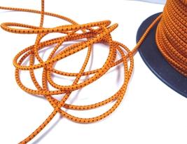 2.5mm width - 5-10yds Orange with Black Stitched Elastic Cord Thread ET42 - $5.99+