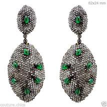 14k Gold Emerald Gemstone Fine Dangle Earrings Diamond Pave .925 Sterlin... - $5,154.50