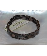 Estate Fossil Bronze Trapezoid & Triangle Geometric Metal Stretch Bracel... - $12.19