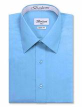 Berlioni Italy Men's Slim-Fit Premium French Convertible Cuff Solid Dress Shirt image 14