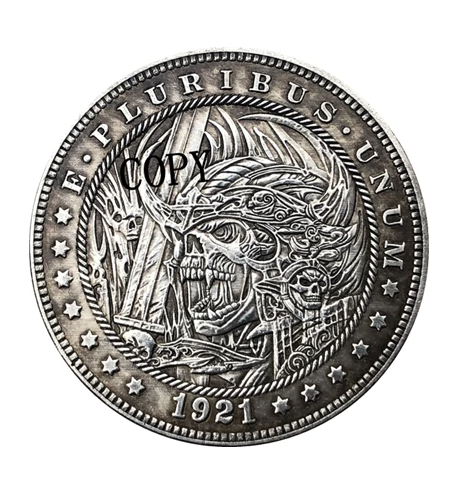 Primary image for Hobo Nickel 1921-D USA Morgan Dollar Skulls Horror COPPY COIN For