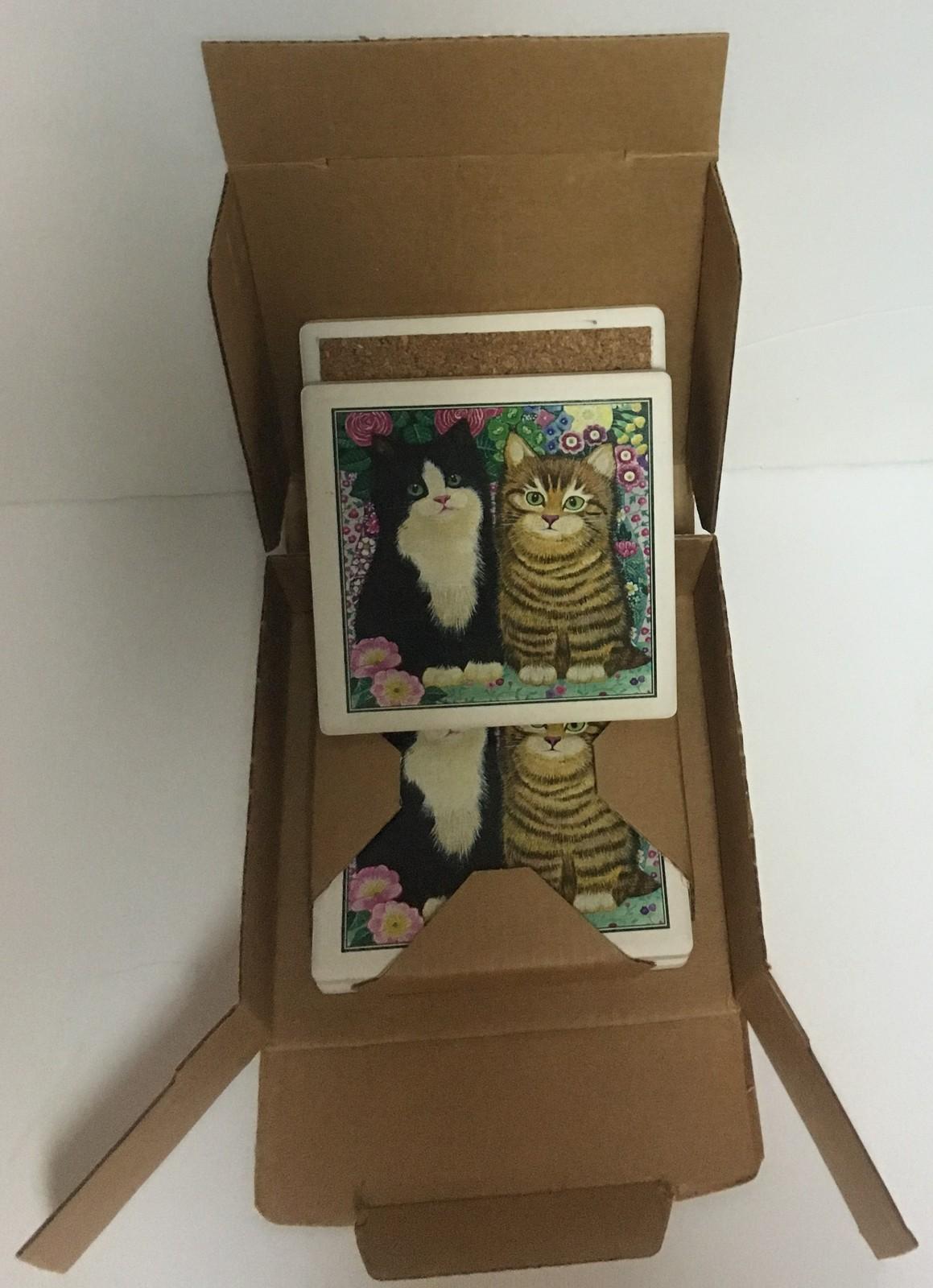 Absorbastone Cat Kittens & Flowers Coasters Set of 4 NIB