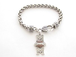 Football Mom Clear Brown Crystal Fashion Silver Lobster Claw Bracelet Jewelry - $12.65