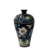 Handmade Ceramic Navy Blue White Dimensional Flower Motif Vase cs4616 - $695.00
