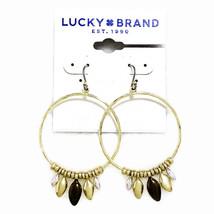 Lucky Brand Gold Tone Triple Color Leaf Bead Hoop Earrings - $14.24