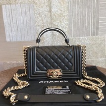 BNIB AUTHENTIC 2019 CHANEL BLACK Limited Edition Top Handle Medium Boy F... - $5,888.00