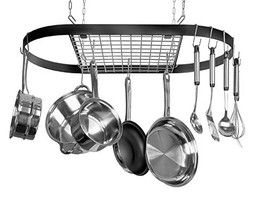 Kinetic Pot and Pan Rack with Ceiling Hooks - Premium Oval Mounted Oragnizer Rac