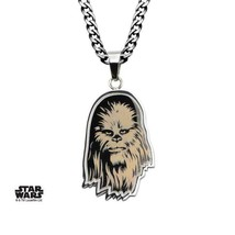 Disney Star Wars Stainless Steel Etched Chewbacca Pendant with Chain - $30.45