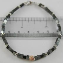Bracelet Giadan Silver 925 Hematite Glossy and Diamonds White Made Italy image 1