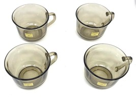 "Arcoroc Smoke Gray Glass France Set of (4) Tea Cups 2.5""H, 3.5"" Diameter - $39.99"