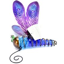 Painted Metal & Glass Solar Powered Light Garden Decoration Dragonfly Decor image 4