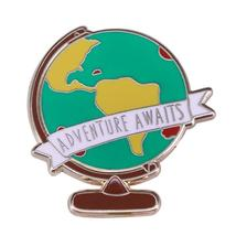 Adventure awaits globe brooch travel inspired world map pin wanderlust great add - $10.44+