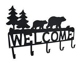 Zeckos Rustic Black Bear Decorative Welcome Wall Hook image 5