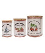 New 3/Set Wintertime Canisters Christmas Decor Holiday Storage - $47.03