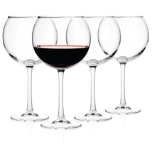 Luxbe - Crystal Wine Balloon Glasses 20o z Set of 4 - Red or White - Lea... - $32.99