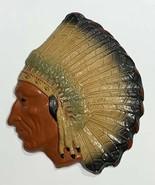 Old Vintage 1945 Native American Indian Head Chalkware Plaster Figure Wa... - $62.44