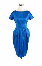 Bright blue 100% silk GAY GIBSON short sleeve vintage sheath dress XS - $40.00