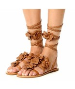 $325 Tory Burch Blossom Gladiator Sandals Tan Floral Shoes Flats Flops 7... - $139.00