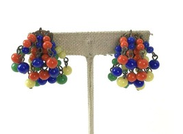 Vintage Glass Bead Cluster Clip Earrings Signed Japan Colorful cha cha - $12.86