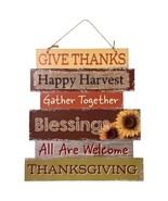 Signs Of Thanksgiving Wall Door Hanging Sign Happy Harvest Give Thanks Decor - $3.00