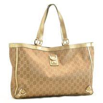 GUCCI GG Canvas Tote Bag Gold-Tone Auth rd104 - $210.00