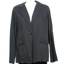 EILEEN FISHER Graphite Gray Linen Viscose Stretch Shaped Jacket 16 - $139.99