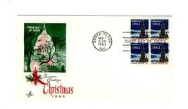 FDC ENVELOPE- USPS  CHRISTMAS SEASON STAMP  BL4 1963 ART CRAFT CACHET  BK12 - ₹172.81 INR