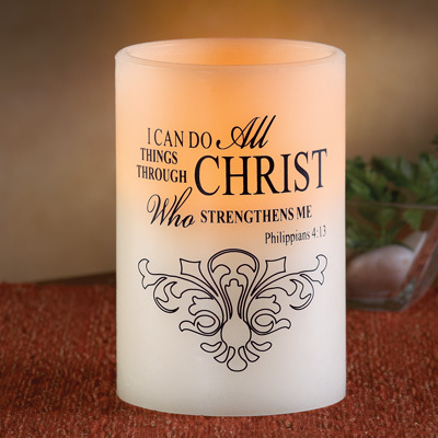 LED Christ Strengthens Flameless Candle, Beige image 1