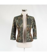 Gray brown floral print WORTH open front 3/4 sleeve blazer jacket 0P - $34.99
