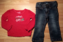 "Girl's Size 18 M 2 Pc Red ""Mom's Favorite Gift"" Osh Kosh L/S Top & P Pat... - $18.50"