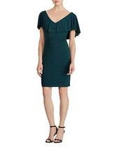 Lauren Ralph Lauren Womens Tama Ruffled Jersey Sheath Dress Green 8, 254... - $24.83