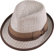 Henschel Braided Strips Fedora Ribbon Band Flip Brim Bow Bone With Brown... - $51.00