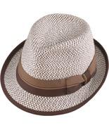 Henschel Braided Strips Fedora Ribbon Band Flip Brim Bow Bone With Brown... - $43.00