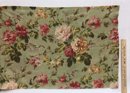 Curtain Valance Green Pink Cream Floral JCPenney Home 82x18.5 Cotton Blend - $18.80