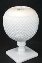 Vintage Rose Ball Vase Westmoreland milkglass English Hobnail Pattern - $18.87