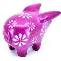 Tabaka Chigware Hand Carved Kisii Soapstone Fuchsia Pig Figure Made in Kenya image 3