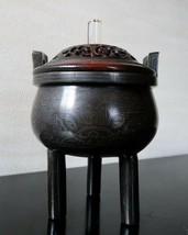VERY RARE CHINESE 16TH C'SHISOU'SILVER INLAID BRONZE TRIPOD CENSER MING ... - $4,365.00