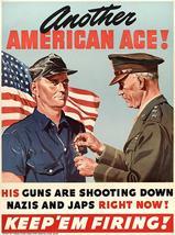 Another American Ace - Keep 'Em Firing - 1942 - World War II - Propaganda Poster - $9.99+