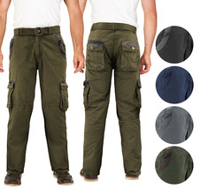 Men's Two Tone Camo Military Tactical Work Army Cotton Twill Belted Cargo Pants