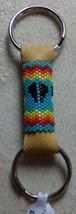 Native American Keychain Glass Beaded 2Ring Lea... - $29.99