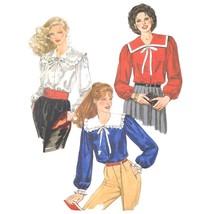 Vtg 80s McCalls 7792 Misses Long Sleeve Blouse Square Collar V-Neck 14 3... - $6.95