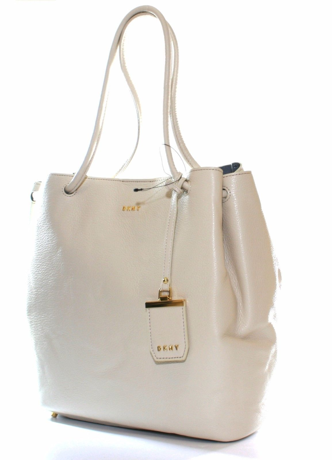 Primary image for DKNY Donna Karan Sand Dollar Cream Leather Shoulder Bag Medium Handbag