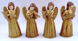 4 1960s Brinns Paper Mache Chalkware Gold Angel Musicians Harp Violin Ac... - $42.52