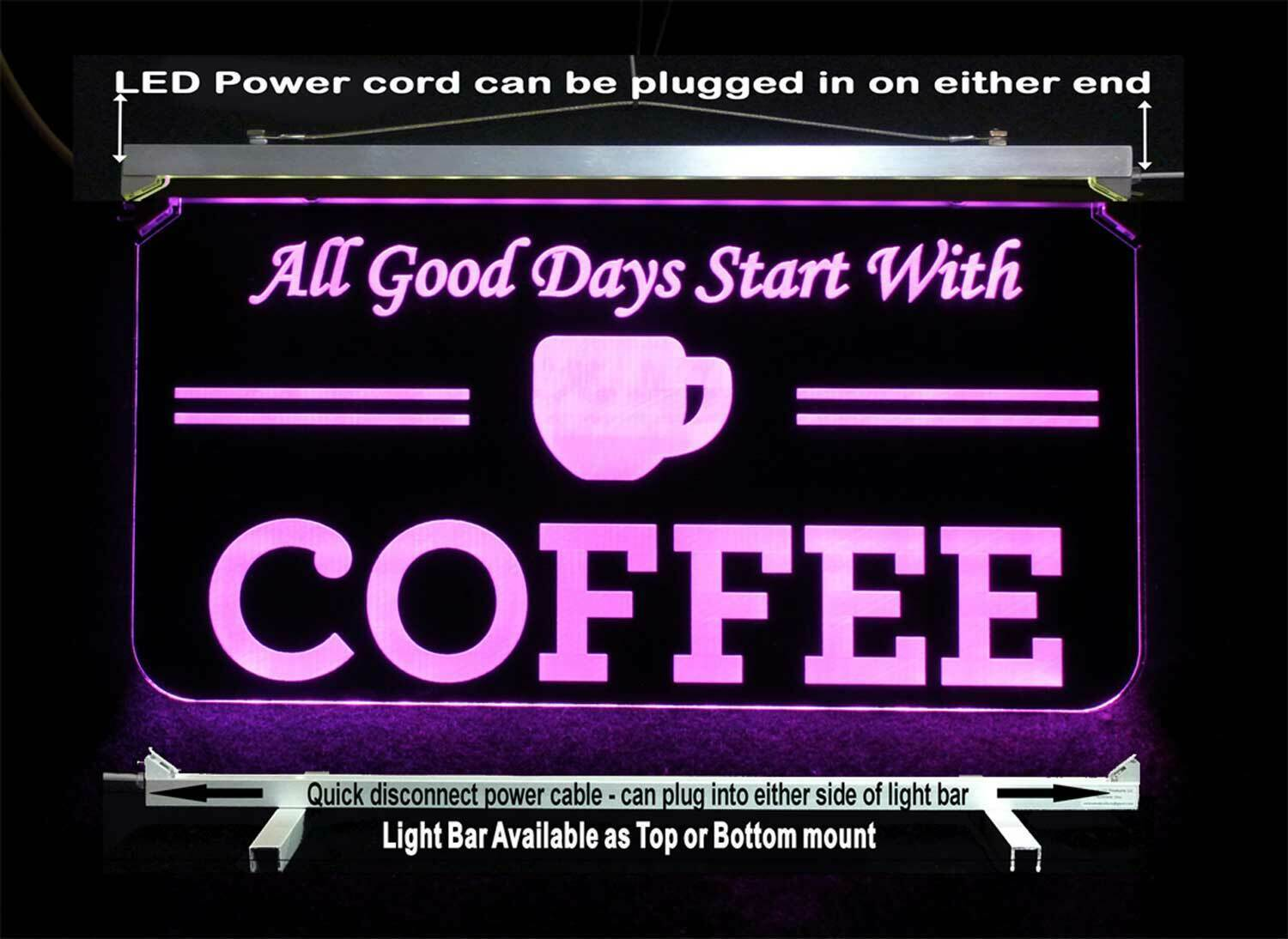 Personalized Coffee Cup LED Sign - Gift for Mom - Restaurant sign