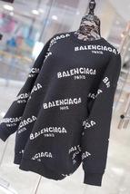 100% AUTHENTIC JACQUERED KNIT BALENCIAGA PARIS BLACK LOGO SWEATER SZ 40 image 3