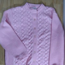 Vintage Haband! Pink 3D Knit Cardigan Sweater - $41.73