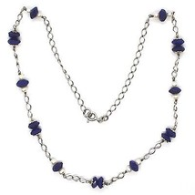 925 Silver Necklace, Lapis Lazuli Blue Disk Faceted, Pearls, 45 cm image 2