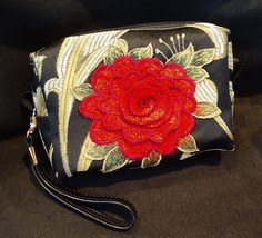 Clutch Bag/Wristlet/Makeup Bag - Single Red Rose Applique on Black & Gold Brocad