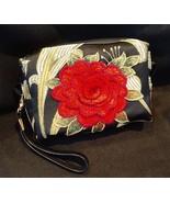 Clutch Bag/Wristlet/Makeup Bag - Single Red Rose Applique on Black & Gol... - $29.95