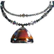 AB Crystal Pyramid Drop Double Strand Necklace image 4